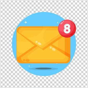 Recordatorio emergente de alerta de correo electrónico sobre fondo blanco