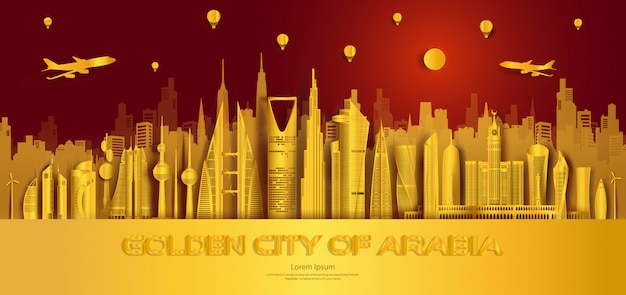 Recorre los monumentos arquitectónicos dorados de la ciudad de oriente medio, monumentos arquitectónicos del mundo.