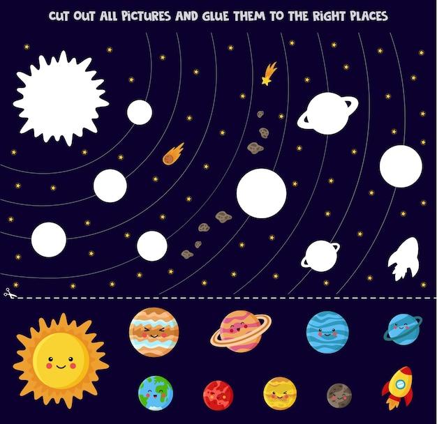 Recorta todas las imágenes y pégalas en los lugares correctos. sol y planetas en estilo de dibujos animados.