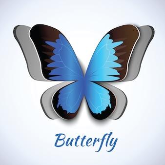 Recorte de papel abstracto mariposa símbolo elemento decorativo adorno postal