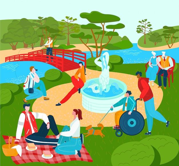Recreación para personas en el parque, verano lyfestyle descanso al aire libre en la naturaleza, el deporte de la ciudad y la ilustración de ocio.