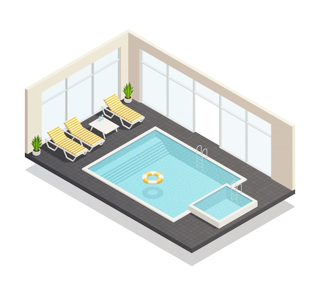 Recreación piscina isométrica