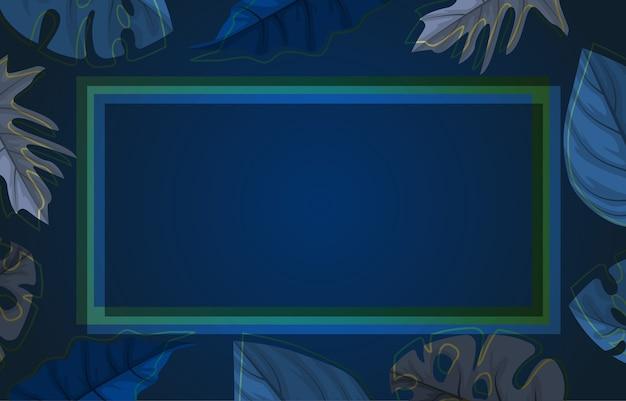 Rectángulo azul planta tropical verano hoja frontera marco fondo