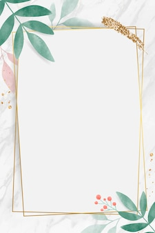 Rectángulo dorado con marco frondoso de acuarela