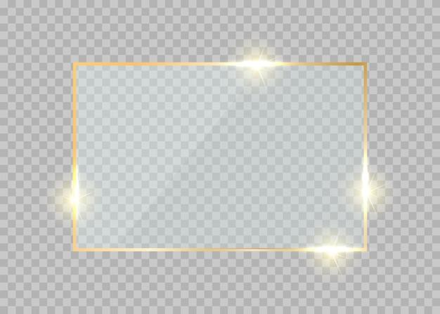 Rectángulo de marco de vidrio dorado borde dorado resplandor botón brillante realista de lujo