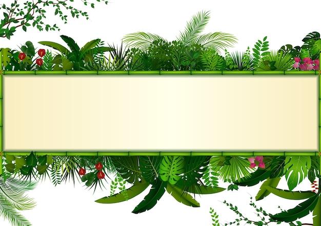 Rectángulo plantas marco bambú tropical follaje