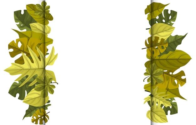 Rectángulo verde planta tropical verano hoja frontera marco fondo