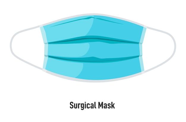 Recubrimiento facial que protege del polvo y los virus. mascarilla quirúrgica aislada contra la propagación del coronavirus. aumento de la prevención de enfermedades. equipo para trabajadores médicos. vector en estilo plano