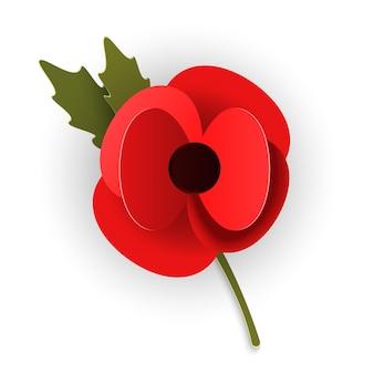 Recuerdo atractivo de amapola en estilo de corte de papel. flor roja moderna del diseño de la papiroflexia aislada en el fondo blanco. ilustración vectorial