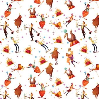 El recuerdo retro divertido inconsútil de la historieta del circo presenta el patrón del papel del abrigo con el ejemplo del vector del mago y del payaso del ion del sello