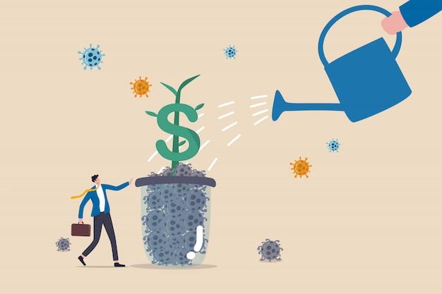Recuperación económica o retorno del mercado financiero y comercial al concepto normal y creciente, dueño del negocio en pie y regando una planta con signo de dólar que crece de un vaso de patógeno coronavirus covid-19 muerto