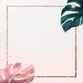 Recurso de diseño de marco de hojas de monstera cuadrado dorado