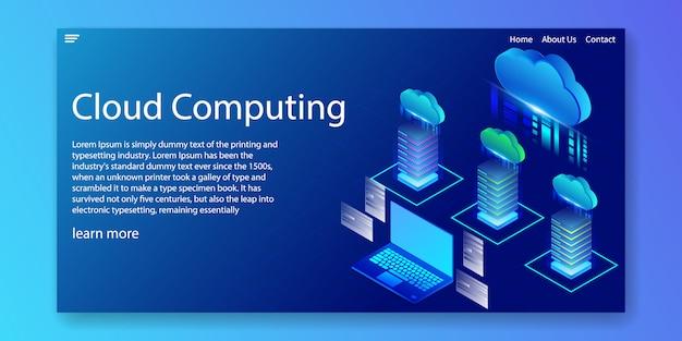 Recursos de computación en la nube isométrica, plantilla de sitio web.