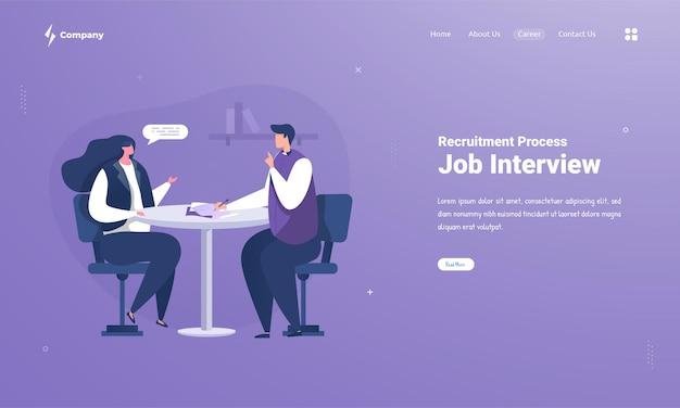 Recursos humanos con entrevista de trabajo en la página de destino.