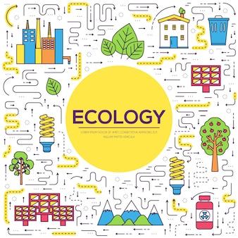 Recursos naturales de delgada línea. camino infográfico de la ecología a la energía limpia. iconos en blanco aislado.