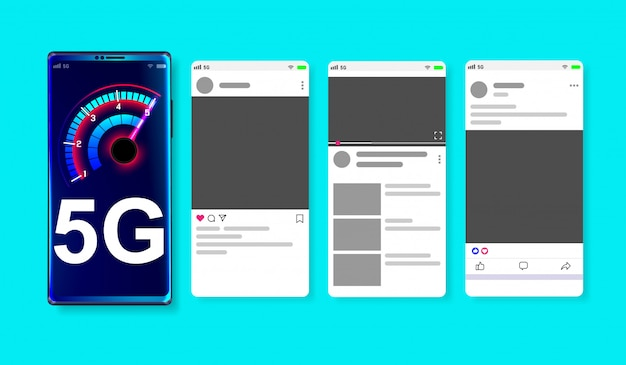Red de alta velocidad 5g en maqueta de redes sociales en línea