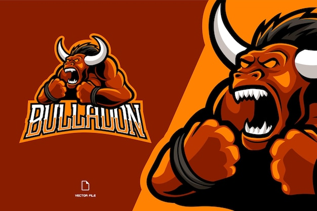 Red bull mascot deporte juego logo ilustración equipo