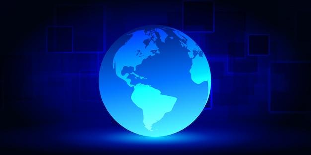 Red cibernética de tecnología abstracta sobre fondo azul. gran visualización de datos.