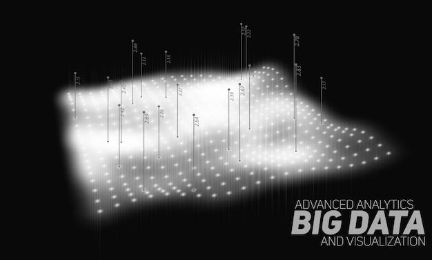 Red curvada en escala de grises de big data