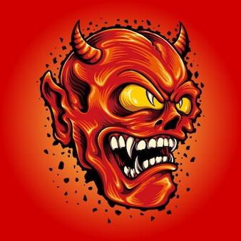 Red devil smiley cartoon mascot ilustraciones vectoriales para su trabajo logotipo, camiseta de mercancía de mascota, pegatinas y diseños de etiquetas, carteles, tarjetas de felicitación, publicidad de empresas comerciales o marcas.