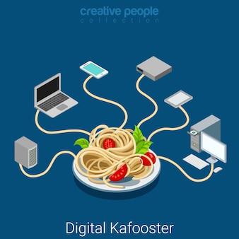 Red de distribución falsa de medios de comunicación de prensa amarilla kafooster digital. concepto de guerra informativa isométrica plana fideos que conectan dispositivos electrónicos de internet.