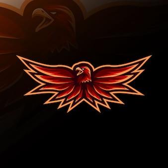 Red eagle mascot logo e-sport design