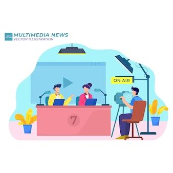 Red de ilustración plana de noticias multimedia en el aire.