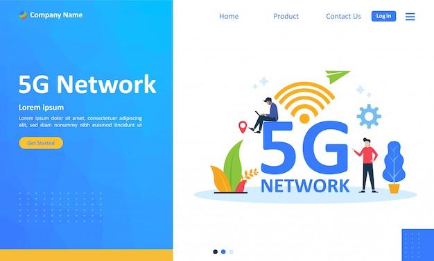 Red inalámbrica de 5g internet móvil para la página de destino web