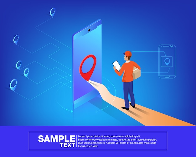 Red isométrica de logística móvil inteligente