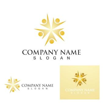 Red de logotipo de personas de la comunidad e icono social