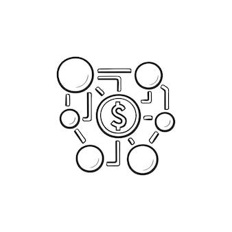 Red de marketing de afiliados con dólar dentro del icono de doodle de contorno dibujado a mano. concepto de marketing de afiliados