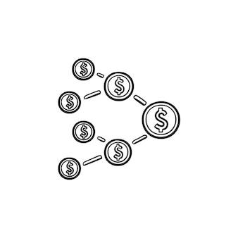 Red de marketing de afiliados con icono de doodle de contorno dibujado de mano de signo de dólar. seo, concepto de marketing en internet
