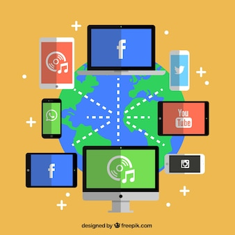 Red de medios de comunicación social vector gratuito