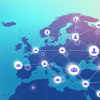 Red de medios sociales y concepto de marketing en el fondo del mapa mundial. concepto de negocio global y tecnología de internet, redes analíticas. ilustración vectorial