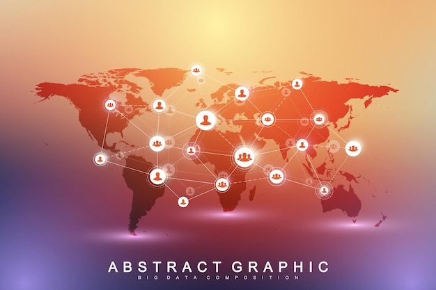 Red de medios sociales y concepto de marketing.