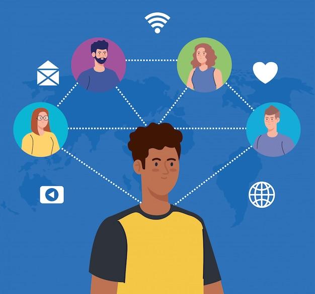 Red de medios sociales, personas conectadas por concepto digital, interactivo, de comunicación y global