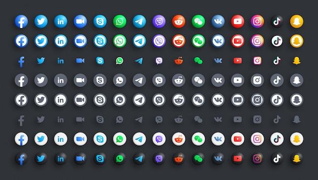 Red de medios sociales populares y mensajeros para empresas color 3d