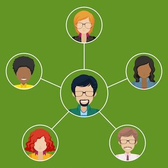 Red de personas con mentalidad empresarial