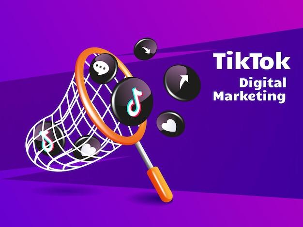 Red de pesca y concepto de redes sociales de marketing digital de icono de tiktok