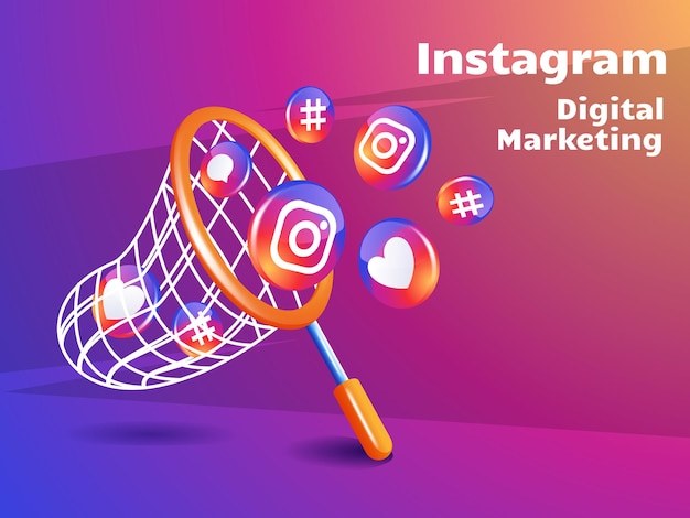Red de pesca e icono de instagram marketing digital concepto de redes sociales