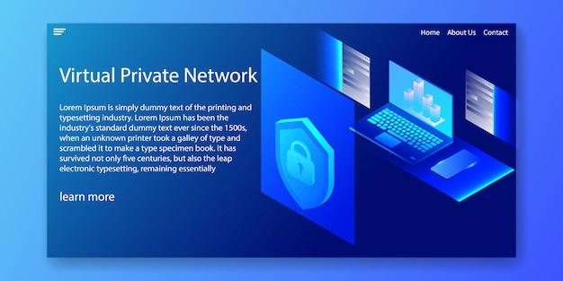 Red privada virtual isométrica, plantilla de sitio web.