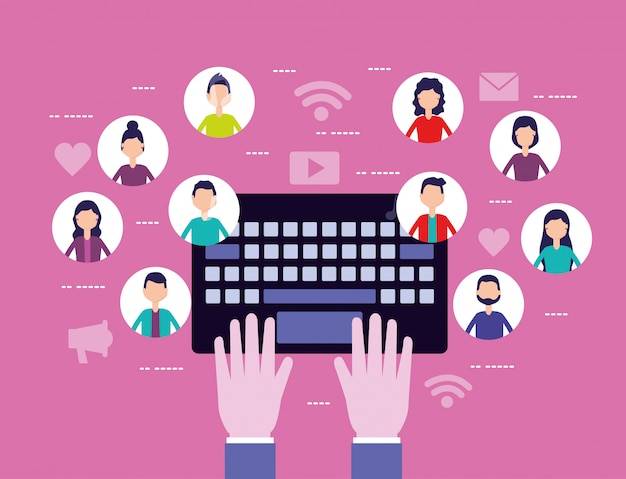 Red de redes sociales con avatares