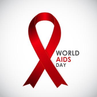 Red ribon - símbolo del 21 de diciembre día mundial del sida