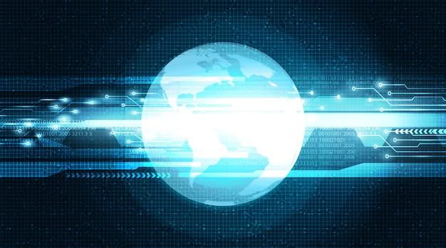 Red de seguridad mundial digital sobre fondo de tecnología global, conexión y diseño de concepto de datos grandes, ilustración vectorial.