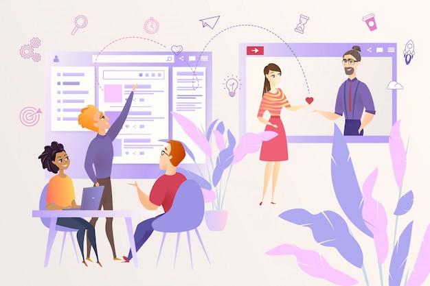 Red social desarrollando dibujos animados vector concepto