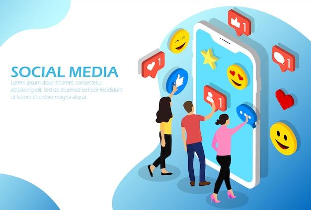Red social isométrica en smartphone.