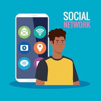 Red social, joven en smartphone con iconos de redes sociales