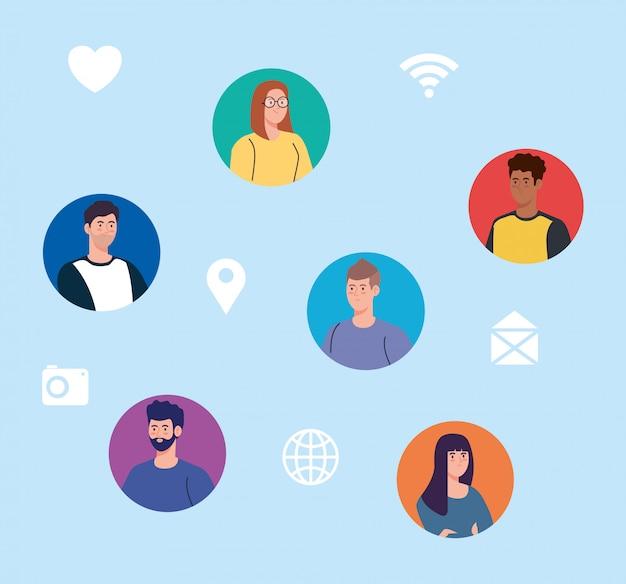 Red social, jóvenes conectados digitalmente, comunicarse y concepto global.