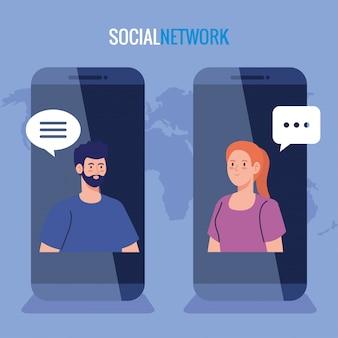 Red social, pareja conectada para teléfonos inteligentes, comunicación y concepto global.