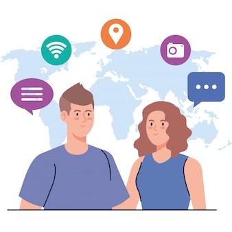 Red social, pareja joven con iconos de redes sociales